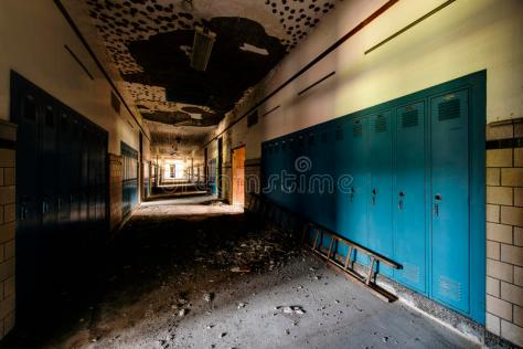 abandoned-school-hallway-blue-lockers-interior-view-derelict-96512090